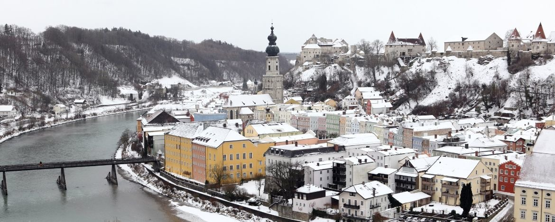 Burghausen winterlich eingeschneit