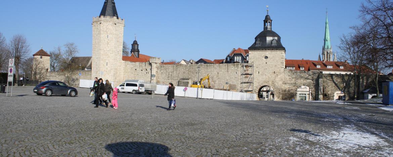 Die historische Stadtmauer in Mühlhausen