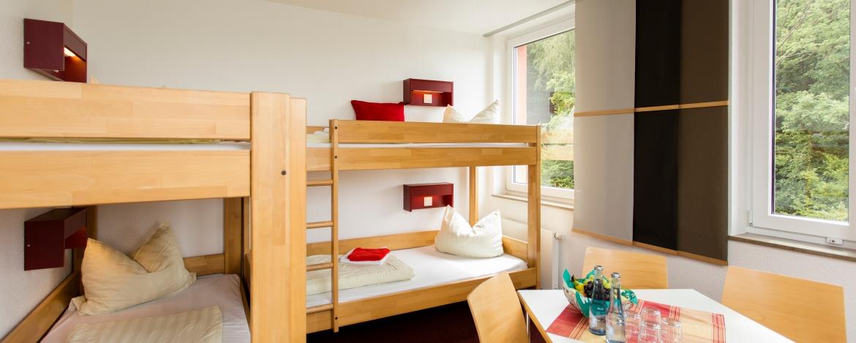 Blick in ein Mehrbettzimmer mit Etagenbetten