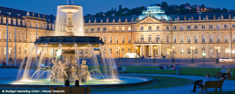 Schlossplatz - Brunnen bei Nacht