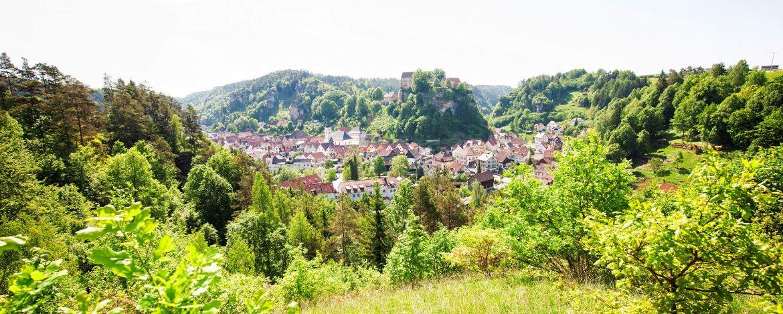 Sommerliche Ortsansicht von Pottenstein