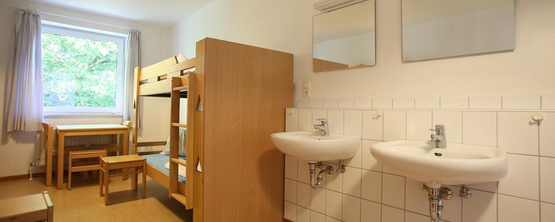 Mehrbettzimmer in der Jugendherberge Albersdorf