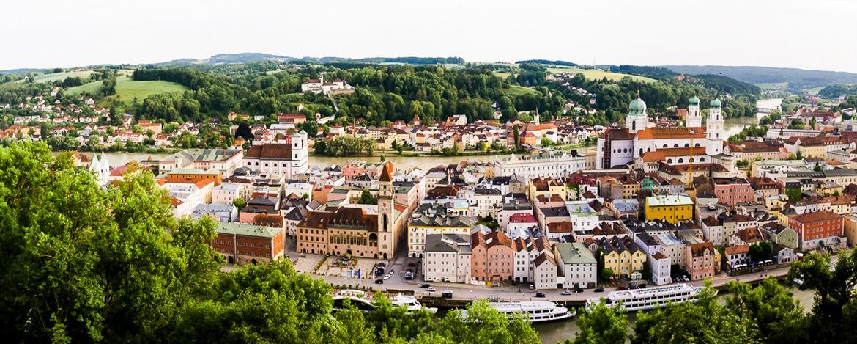 Panoramablick über Passau von der Veste Oberhaus aus