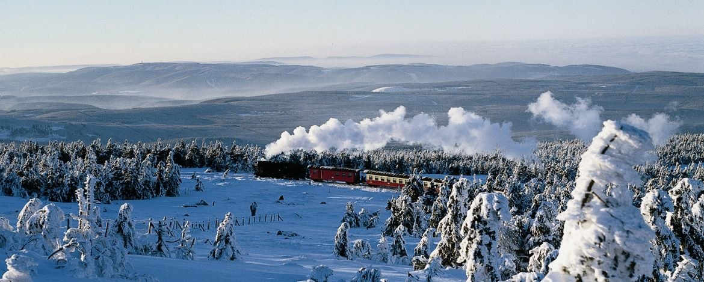 Die Brockenbahn auf ihrem Weg zum Gipfel