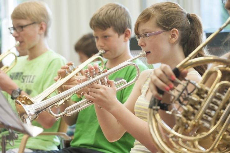 Orchesterprobe in der Jugendherberge Burg Monschau