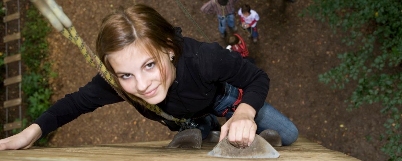 Aktion, Klettern, Kletterwand, Mädchen