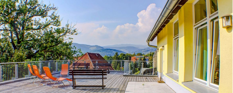 Fernblick-Terrasse der Jugendherberge Wernigerode