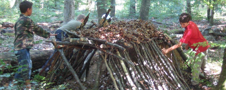 Hütte aus Naturmaterialien bauen