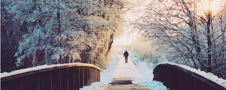 im winterlichen Park spazieren gehen