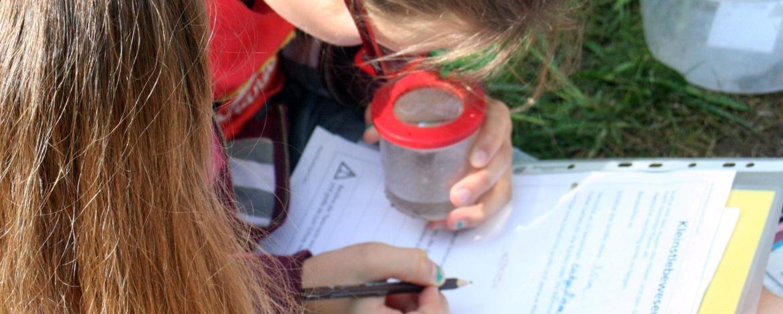 Kinder mit einer Becherlupe und beim Bachfragebogen ausfüllen