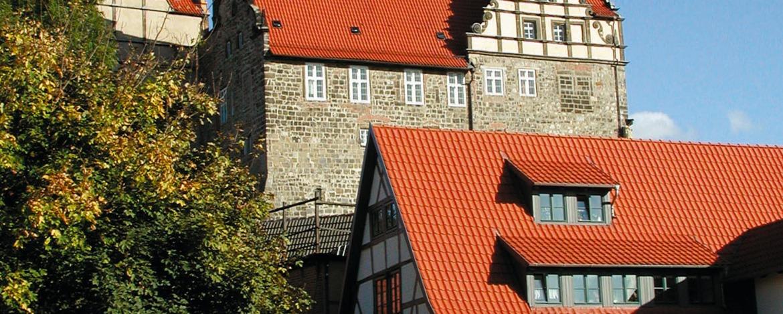 Blick zum Burgberg mit Stiftskirche