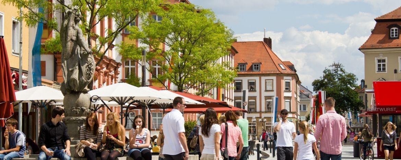 Marktplatz und Maximilianstraße in Bayreuth